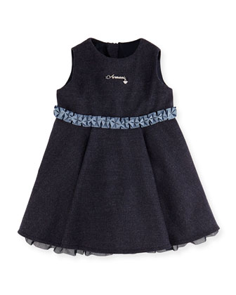 Heathered Ruffle Dress, Royal Blue, 3-24 Months