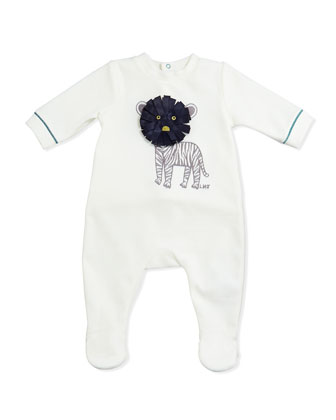 Boys' Tiger Embroidered Velour Footie, White, Sizes 3-18 Months