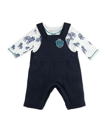 Boys' Tiger-Print Top & Overall Set, Navy, Sizes 3-18 Months