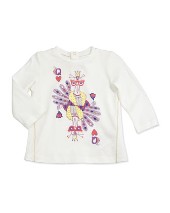 Peacock-Print Long-Sleeve Tee, White, 2T-3T