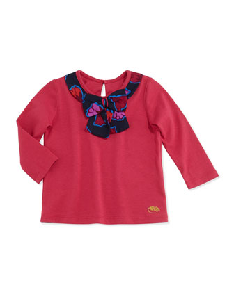 Jersey Bow-Neck Top, Red, 2T-3T