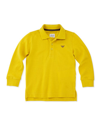 Long-Sleeve Polo Shirt, Yellow