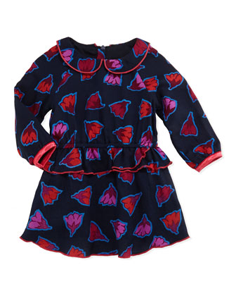 Flower Print Ruffle Peplum Dress, Navy, Girls' Sizes 2T-3T
