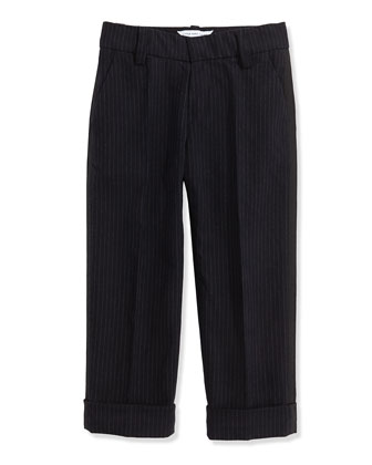 Boys' Pinstripe Suit Pants, Navy, Sizes 6-10