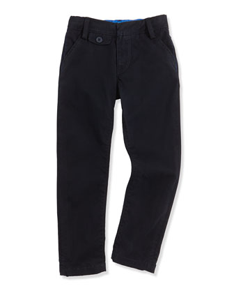 Boys' Stretch-Cotton Pants, Navy, Sizes 6-10