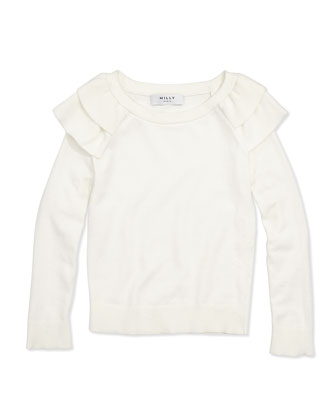 Knit Ruffle Pullover Sweater, White, Girls' 8-12