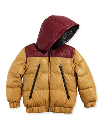 Boys' Reversible Puffer Jacket, Red/Yellow, Sizes 12-12 Plus