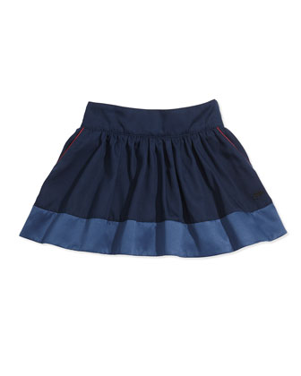 Twill Skirt with Piping, Sizes 6-10