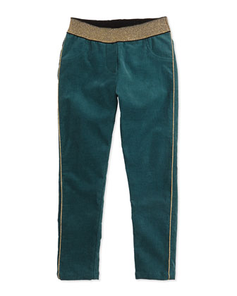Girls' Corduroy Pants, Dark Green, Sizes 12-12+