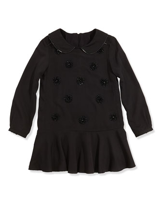 Girls' Embellished Crepe Dress, Black, Girls' 6-12
