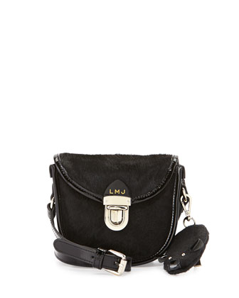 Girls' Calf Hair Crossbody with Mouse Charm, Black