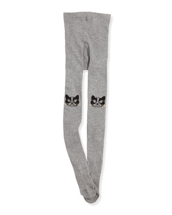 Girls' Cat Knit Tights, Gray