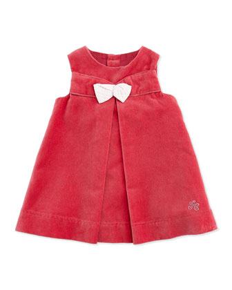 Velour Dress with Bow, Light Pink, Girls' 3M-2T