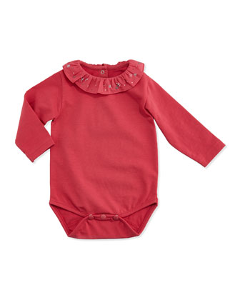 Ruffle-Collar Knit Playsuit, Light Pink, 3M-2Y