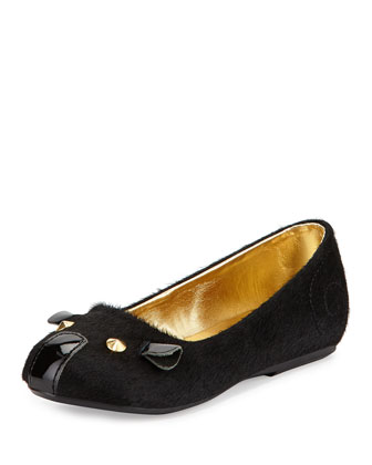 Calf Hair Mouse Ballerina Flat, Black