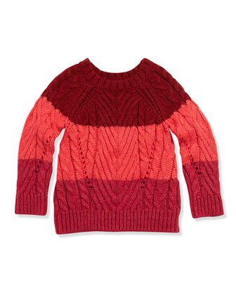 Chunky Colorblock Sweater, Pink, Girls' 2-5