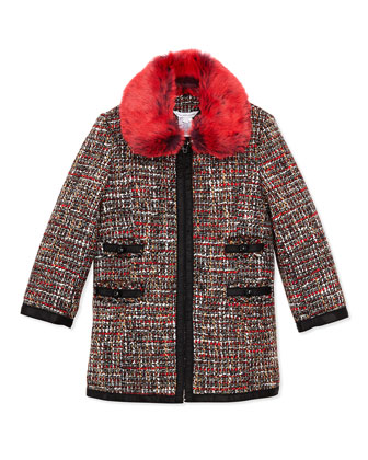 Girls' Tweed Coat with Faux-Fur Collar, Sizes 6-12