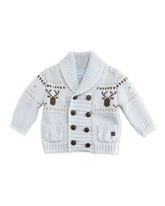 Heavy Knit Cardigan, Blue, 3M-2T