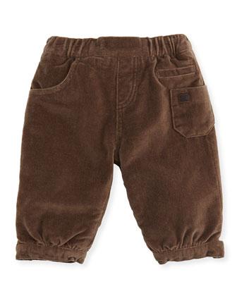 Boys' Velour Pants, Brown, 3-24 Months