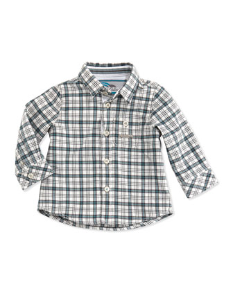 Plaid Button-Down Shirt, Blue, 3M-2T