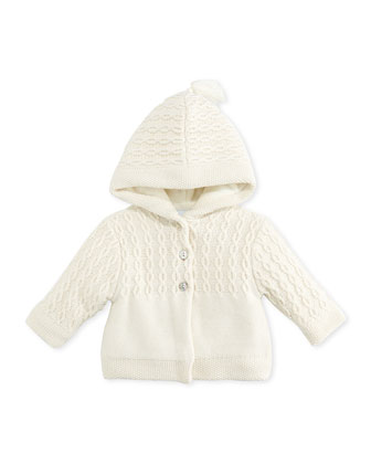 Knit Hooded Jacket, Pearl, 3-6 Months