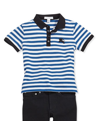 Striped Pique Polo, Cerulean Blue