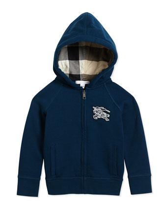 Boys' Hooded Sweater, Deep Teal, 4Y-14Y