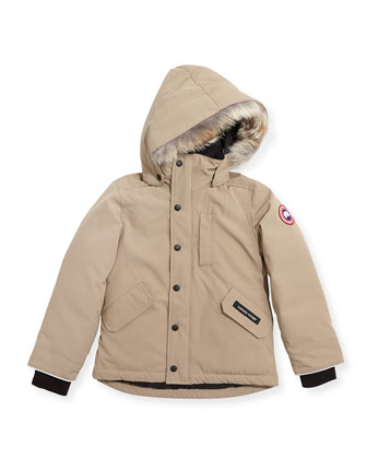 Youth Logan Parka with Fur Trim, Tan, XS-XL
