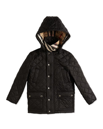 Diamond-Quilt Puffer Jacket, Black, Size 4Y-14