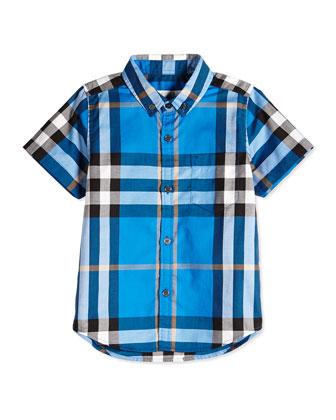 Check-Print Poplin Shirt, Cerulean Blue, Size 4Y-14Y