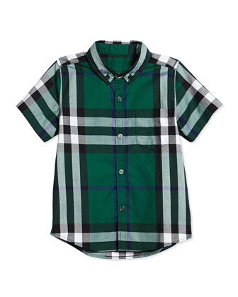 Short-Sleeve Check Shirt, Dark Pigment Green, Size 4Y-14Y