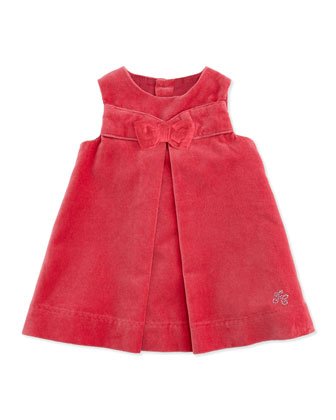 Velour Dress with Bow, Old Pink, Girls' 3-4