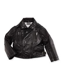 Girls' Leather Biker Jacket, Black, 4Y-14Y