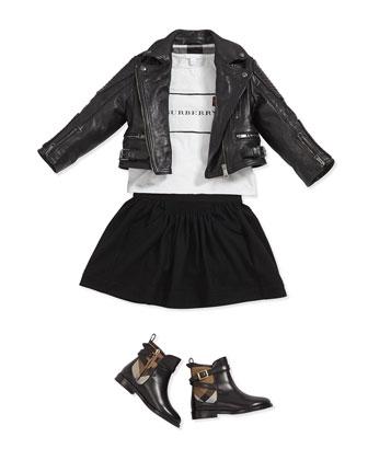 Smocked Detail Wool Skirt, Black, 4Y-14Y