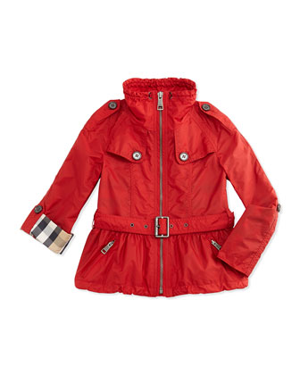 Tech-Fabric Rain Coat, Military, 4Y-14Y