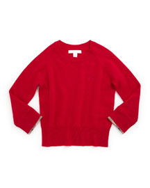 Georgey Cashmere Check-Cuff Pullover Sweater, Size 4Y-14Y