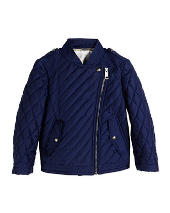 Asymmetric-Zip Quilted Biker Jacket, Sapphire, Size 4Y-14Y