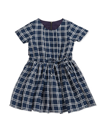 Windowpane-Check Dress, Dark Canvas Blue