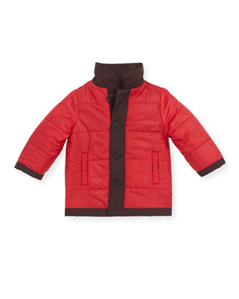 Reversible Tech-Fabric Coat, Mahogany/Red, 3-24 Months