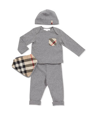 Check-Pocket Tee, Pants, Hat & Check Bib Set
