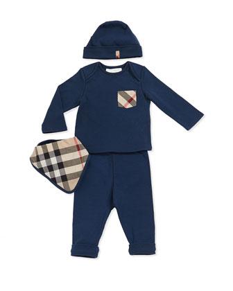 Check-Pocket Tee, Pants, Hat & Check Bib Set, Blue