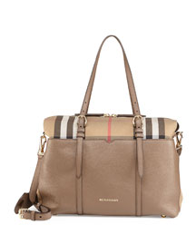 Check-Canvas & Leather Diaper Tote Bag