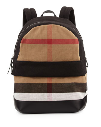 Check & Leather Backpack, Black