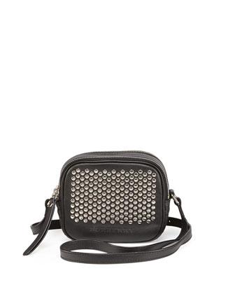Studded Leather Crossbody Bag, Black