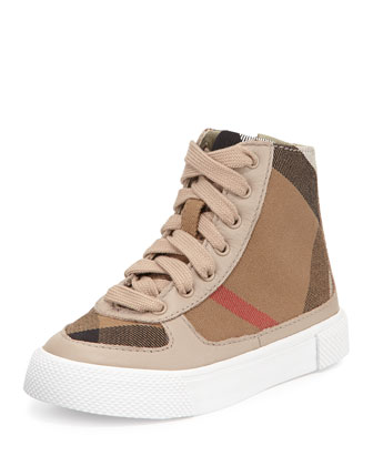 Check-Print High-Top Sneaker, Light Honey, Toddlers'