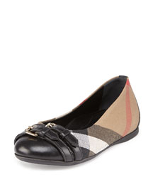 Avonwick Girls' Check Cap-Toe Ballet Flat, Youth