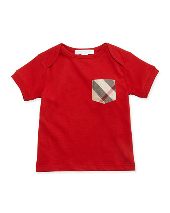 Short-Sleeve Cotton Jersey Tee, Bright Military Red, Size 3M-3Y
