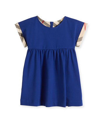 Double-Breasted Check Dress, Sapphire Blue, 3M-3Y