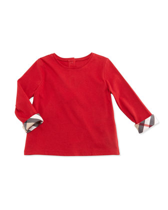 Long-Sleeve Rolled-Cuff Cotton Jersey Tee, Military Red, Size 3M-3Y