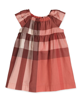 Check-Print Dress, Coral, Size 3M-3Y